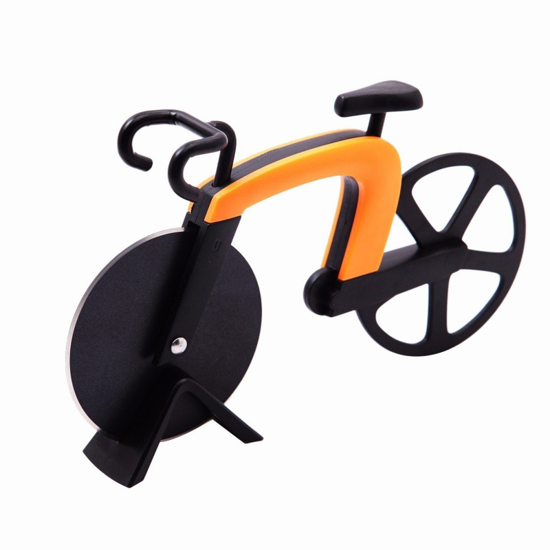 G.a HOMEFAVOR Bicycle Pizza Cutter Stainless Steel Blades with Non-stick Coating Serveware with Kickstand