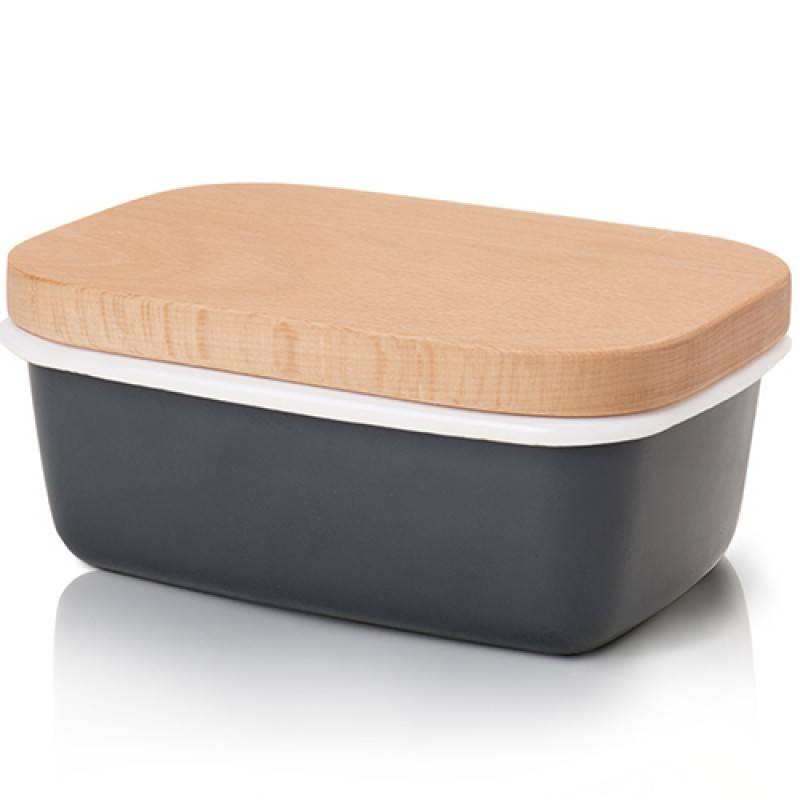 G.a HOMEFAVOR Butter Dish Enamel Butter Keeper Container With Beech Wooden Lid Charcoal Gray