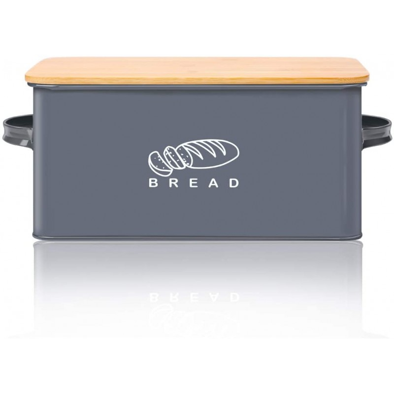 "Bread Box for Kitchen, Bread Bin, Bread Holder with Bamboo Lid, 11.56""6.7""5.5"", Grey"