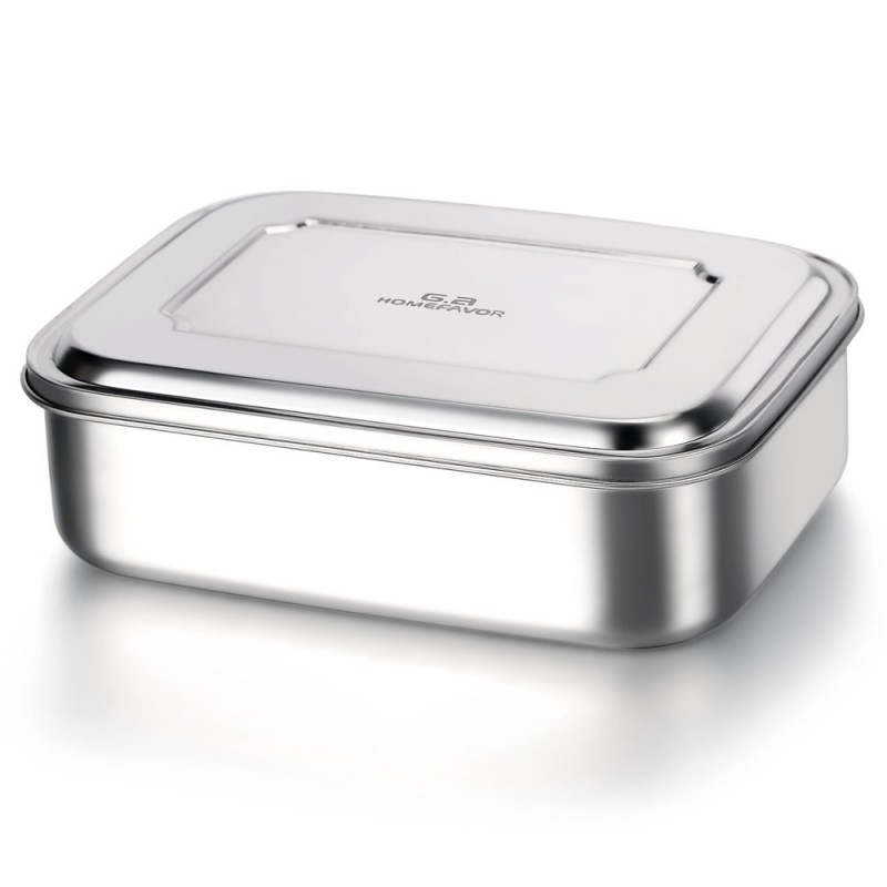 G.a HOMEFAVOR Divided Stainless Steel Bento Lunch Box with 3 Compartments Design, Large 1800ML Metal Lunch Box for Kids or Adults- BPA-Free-Dishwasher Safe - Stainless Lid - All Stainless