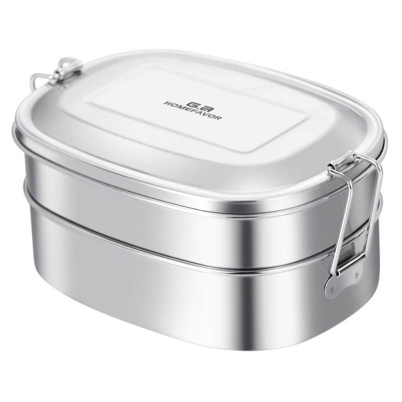 G.a HOMEFAVOR Stainless Steel Lunch Box 2-in-1 Bento Box Eco-Friendly Food Container