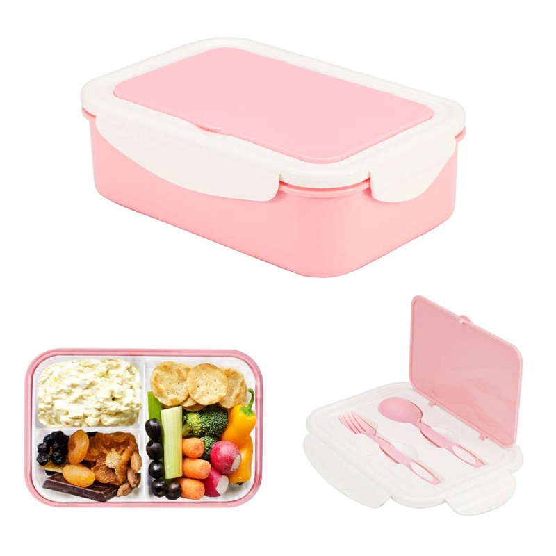 1000 ml Plastic Bento Lunch Box for Adults & Kids, Food Container with 3 Compartments and Cutlery Set(Fork and Spoon), Microwave & Dishwasher Safe (Pink)