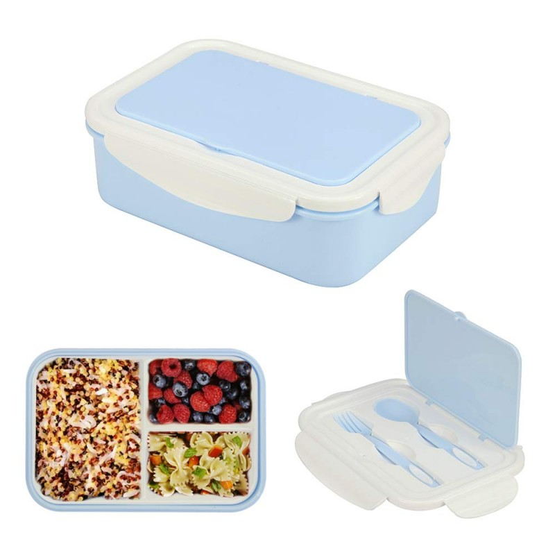 1000 ml Plastic Bento Lunch Box for Adults & Kids, Food Container with 3 Compartments and Cutlery Set(Fork and Spoon), Microwave & Dishwasher Safe (Blue)