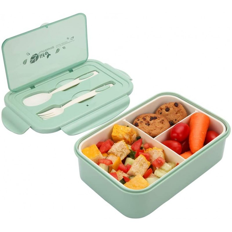 1000 ml Plastic Bento Lunch Box for Adults & Kids, Food Container with 3 Compartments and Cutlery Set(Fork and Spoon), Microwave & Dishwasher Safe (Green)