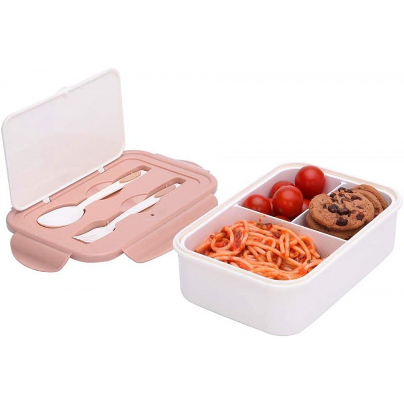 1000 ml Plastic Bento Lunch Box for Adults & Kids, Food Container with 3 Compartments and Cutlery Set(Fork and Spoon), Microwave & Dishwasher Safe (Brown)