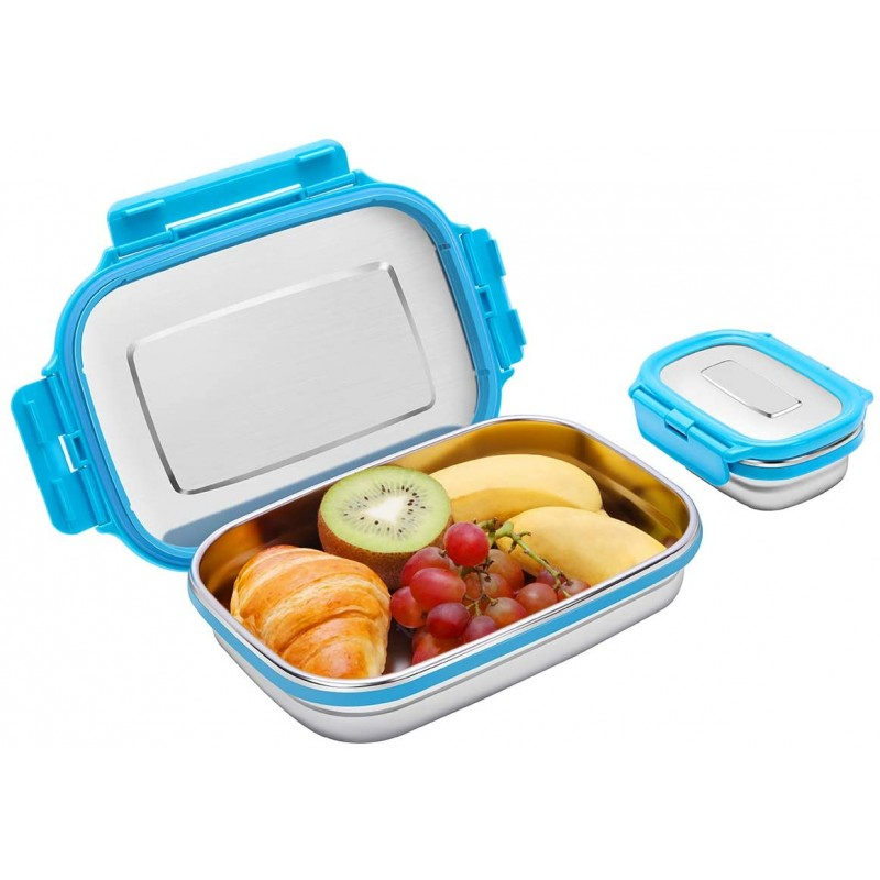 Set of 2 Stainless Steel Bento Lunch Box Food Container Storage for Kids or Adults, 2 Packs 180ml+950ml Leak Proof Metal Bento Lunch Container For Work or School-Dishwasher Safe (Blue)
