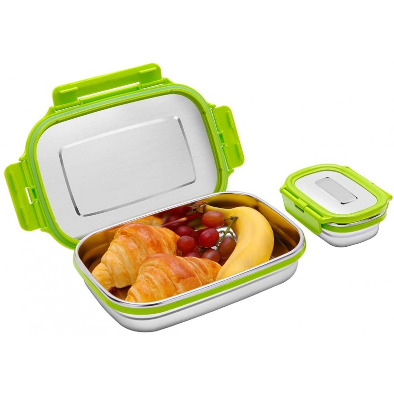 Set of 2 Stainless Steel Bento Lunch Box Food Container Storage for Kids or Adults, 2 Packs 180ml+950ml Leak Proof Metal Bento Lunch Container For Work or School-Dishwasher Safe (Green)