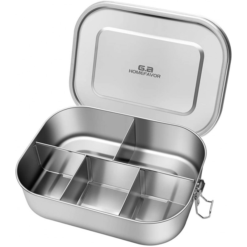 G.a HOMEFAVOR Leak Proof Stainless Steel Bento Box,1400ml Lunch Containers with 5 Compartment - Dishwasher Safe