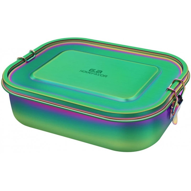 Rainbow Color Lunch Box 1400ml Stainless Steel Bento Box, Large Metal Food Container with Lock Clips, Leakproof Design - Dishwasher Safe