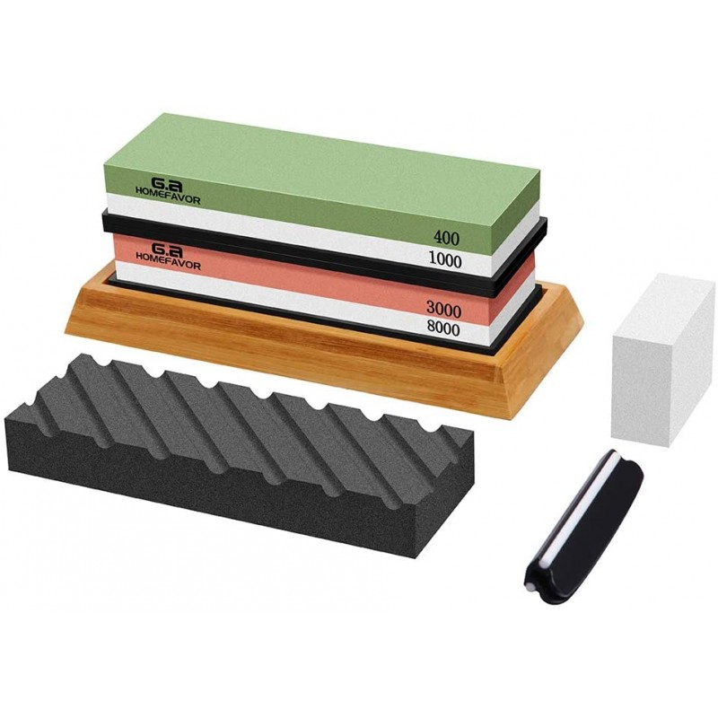 Whetstone Sharpening Stone Set (Grit 400/1000, 3000/8000), Professional Knife Sharpeners with Non-Slip Bamboo Base, Silicon Holder, Fixing Stone, Angle Guide, Flattening Stone