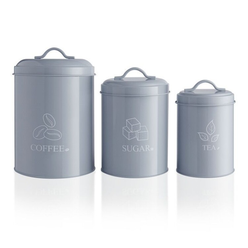 Canister Sets For Kitchen Counter Grey Airtight Food Storage With Lids For Coffee, Sugar, Tea Bin