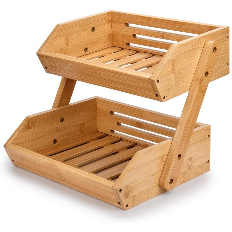 amboo Fruit Basket, 2-Tier Bamboo Countertop Fruit Basket for Kitchen Food Storage